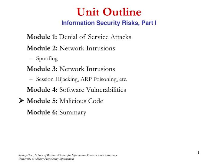 Unit outline information security risks part i