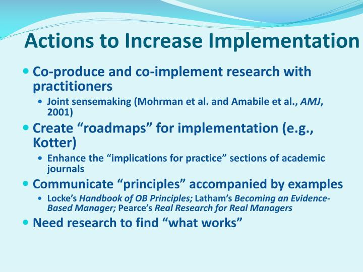 Actions to Increase Implementation