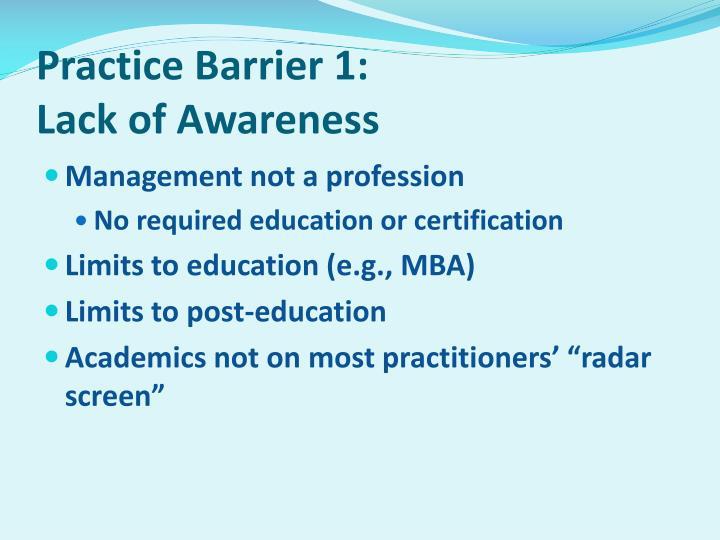 Practice Barrier 1: