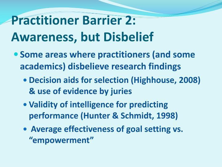Practitioner Barrier 2:
