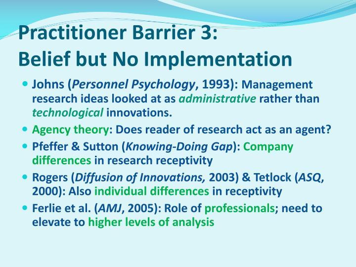 Practitioner Barrier 3: