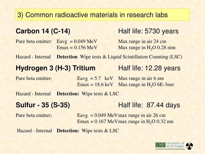 3) Common radioactive materials in research labs