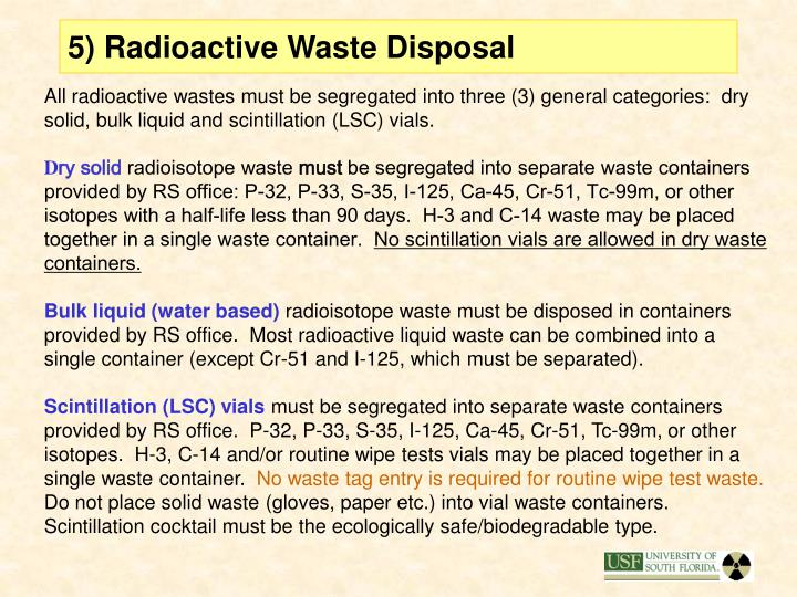 5) Radioactive Waste Disposal