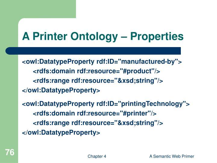 A Printer Ontology – Properties