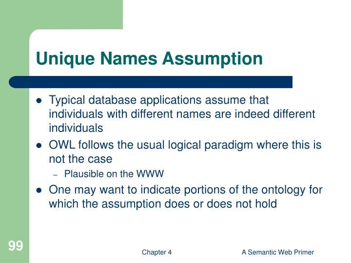 Unique Names Assumption