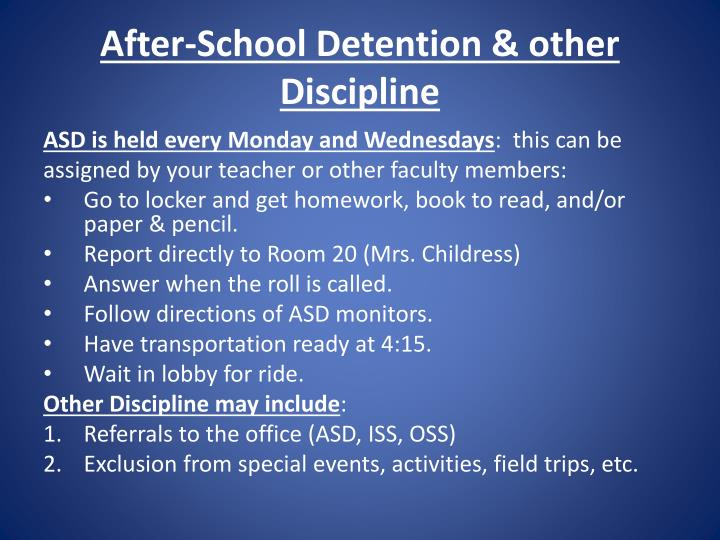 After-School Detention & other Discipline