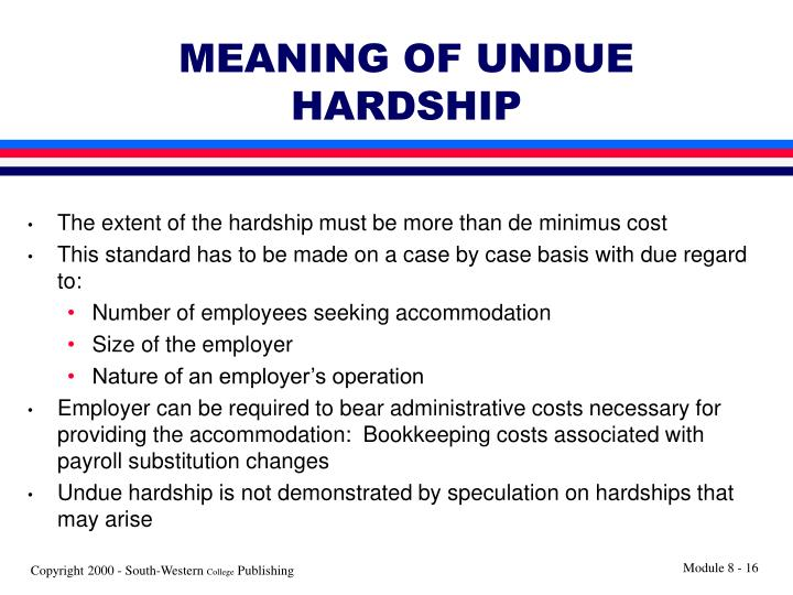 MEANING OF UNDUE HARDSHIP