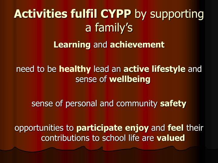 Activities fulfil CYPP