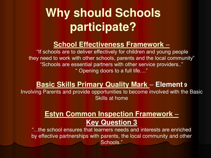 Why should Schools participate?