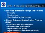 2000 need and opportunity meet
