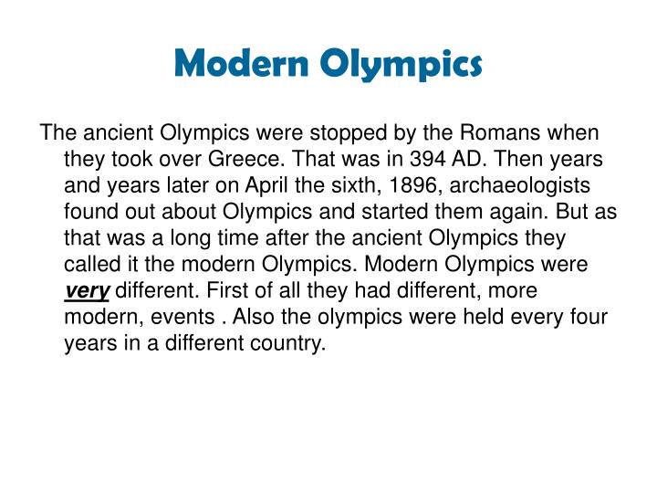 the difference between the ancient olympics and modern olympics