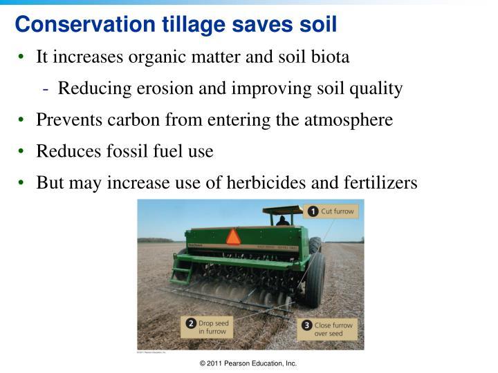 Conservation tillage saves soil