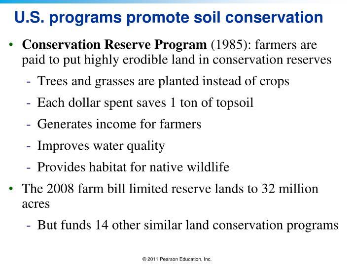U.S. programs promote soil conservation