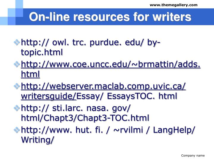 On-line resources for writers
