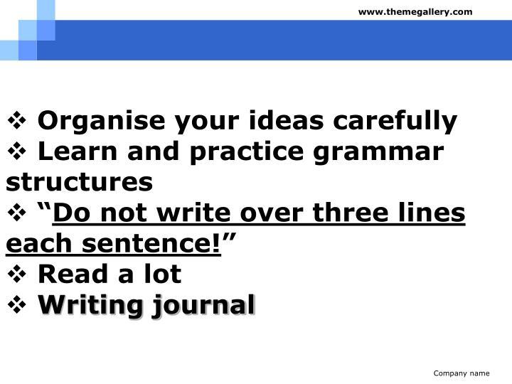 Organise your ideas carefully