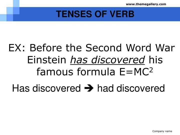 TENSES OF VERB