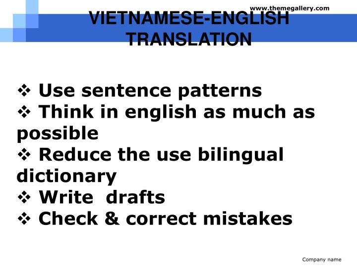 VIETNAMESE-ENGLISH TRANSLATION
