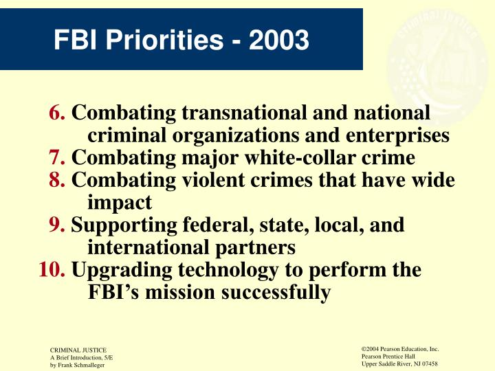 FBI Priorities - 2003