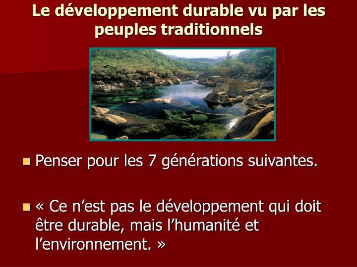 Le développement durable vu par les