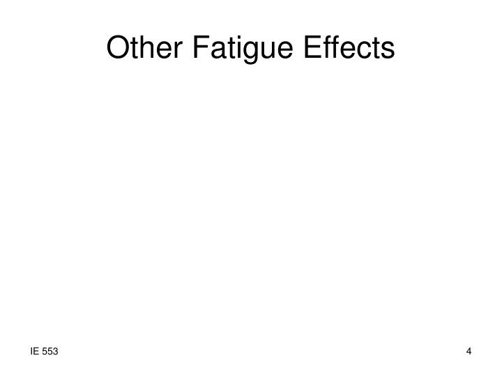 Other Fatigue Effects