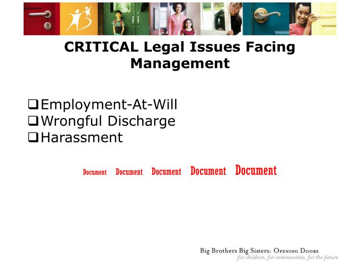 CRITICAL Legal Issues Facing Management