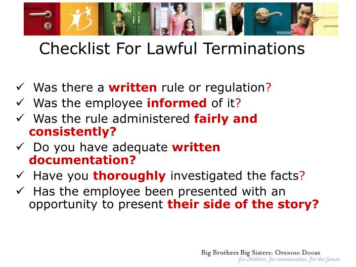 Checklist For Lawful Terminations