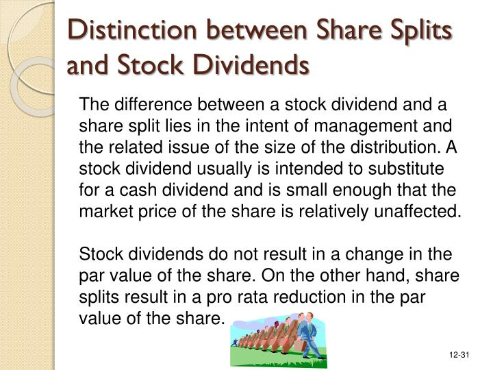 Distinction between Share Splits and Stock Dividends