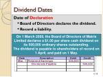 dividend dates
