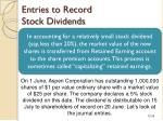 entries to record stock dividends