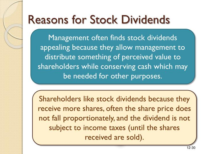 Reasons for Stock Dividends