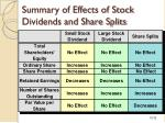 summary of effects of stock dividends and share splits