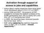activation through support of access to jobs and capabilities