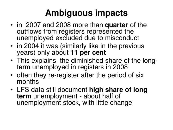 Ambiguous impacts