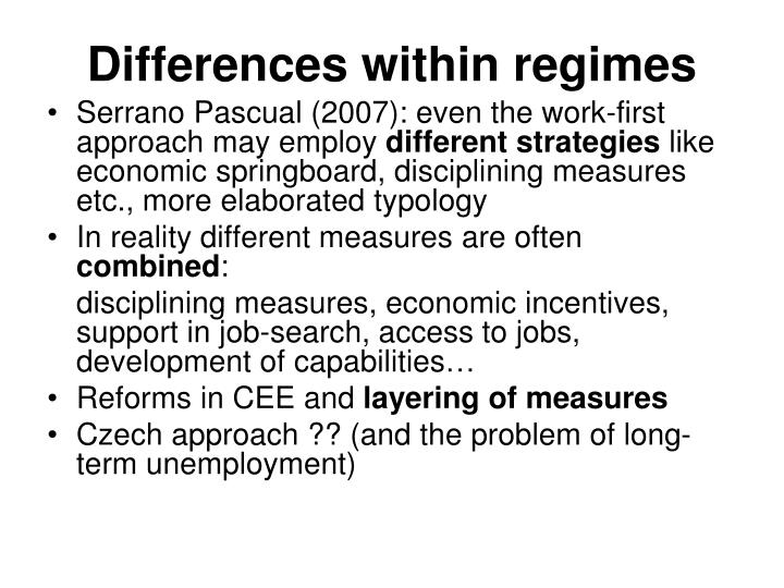 Differences within regimes