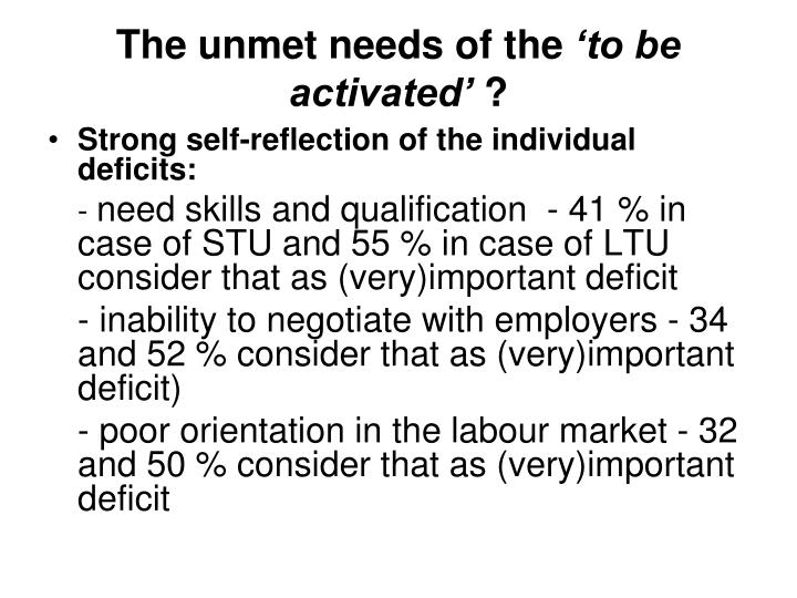 The unmet needs of the