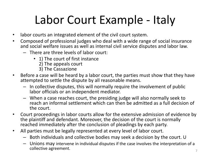 Labor Court Example - Italy