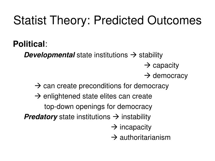 Statist Theory: Predicted Outcomes