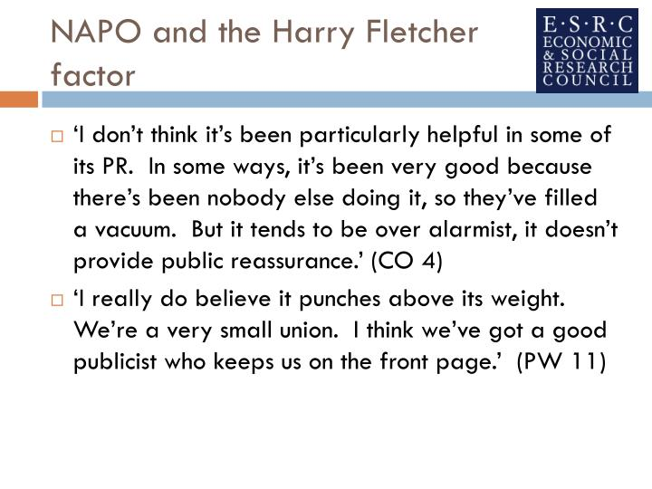 NAPO and the Harry Fletcher