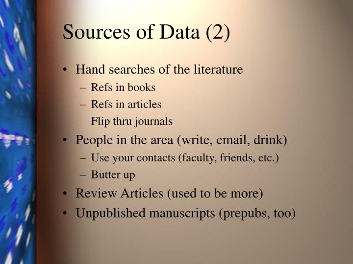 Sources of Data (2)
