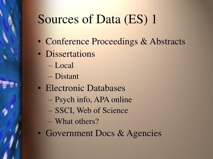 Sources of Data (ES) 1