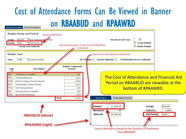 Cost of Attendance Forms Can Be Viewed in Banner on