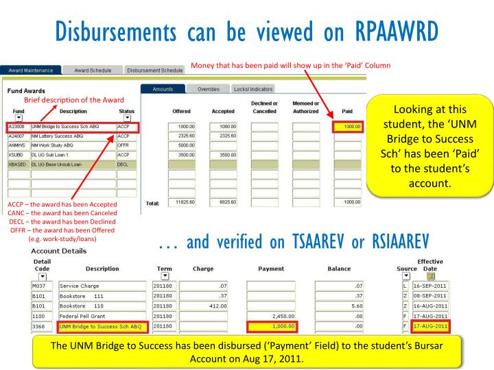 Disbursements can be viewed on RPAAWRD