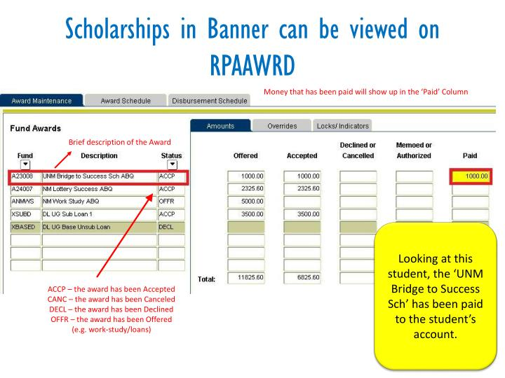 Scholarships in Banner can be viewed on RPAAWRD