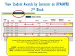 view student awards by semester on rpaawrd 2 nd block