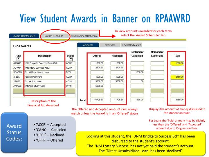 View Student Awards in Banner on RPAAWRD