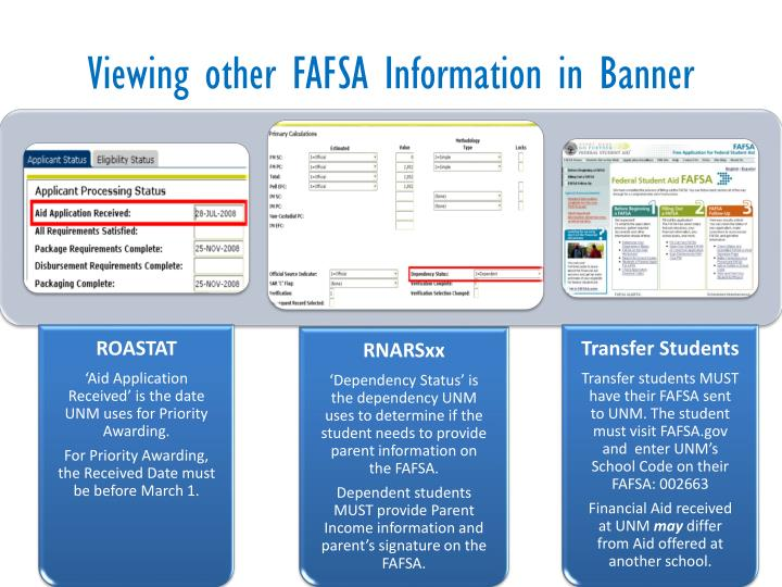 Viewing other FAFSA Information in Banner