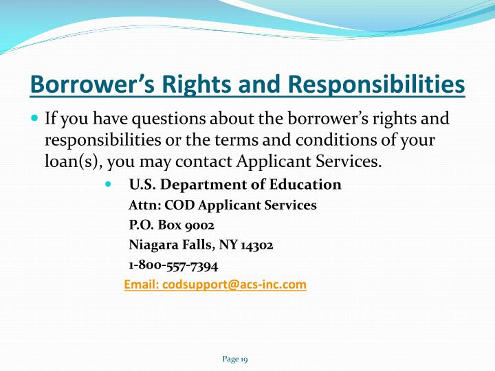 Borrower's Rights and Responsibilities