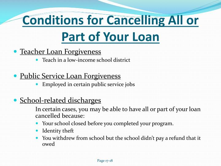 Conditions for Cancelling All or Part of Your Loan
