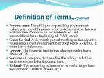 definition of terms continued