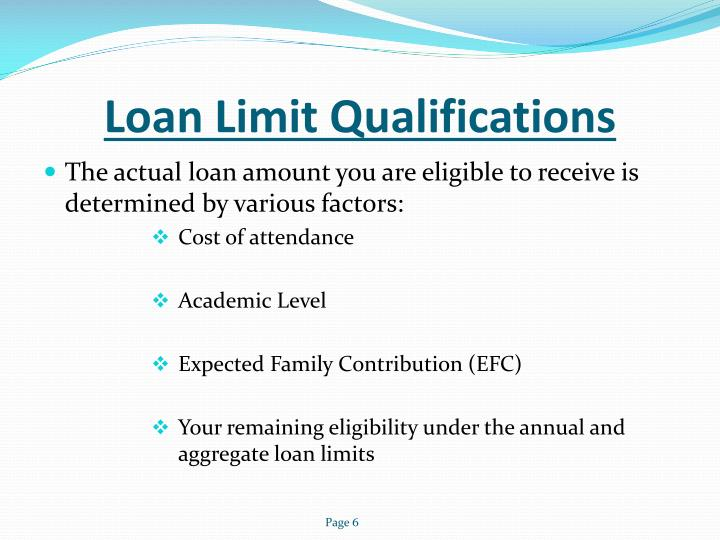 Loan Limit Qualifications